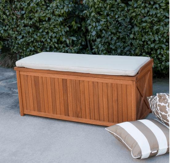Wood veneer deck and patio storage
