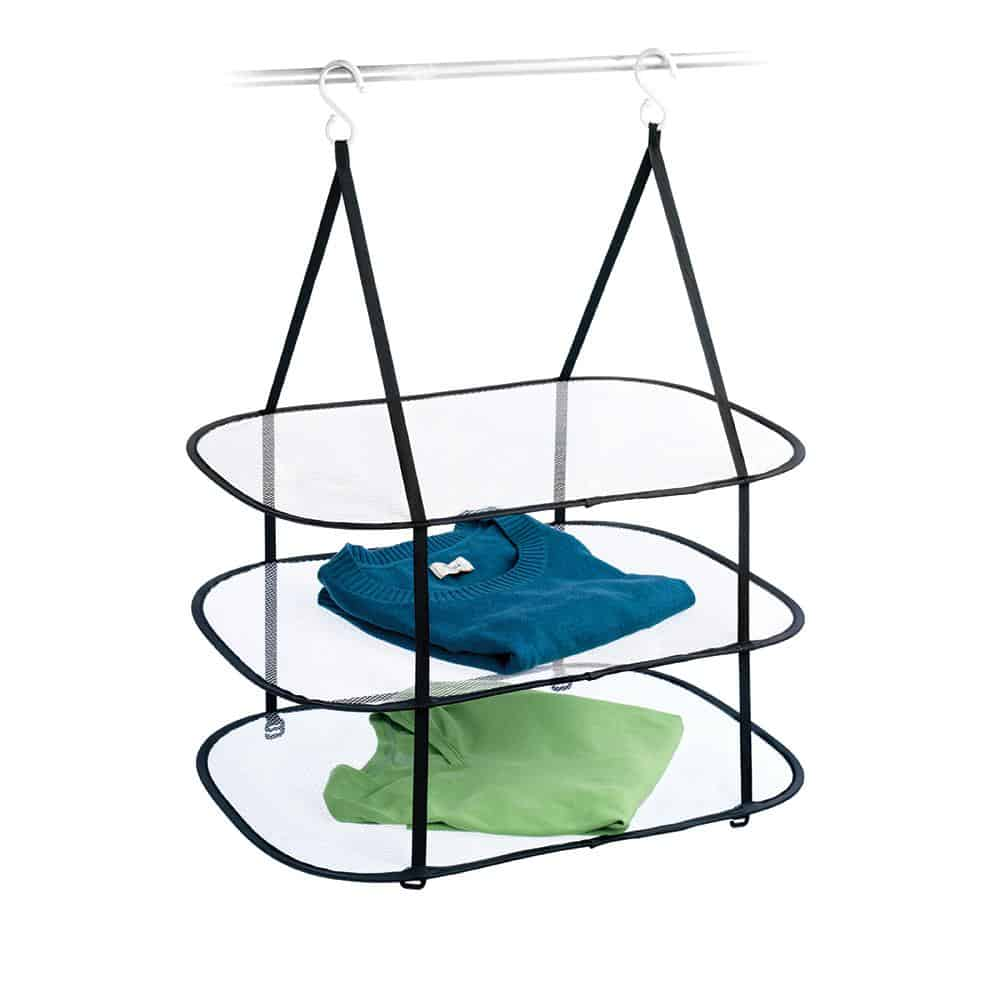 Hanging clothing drying rack