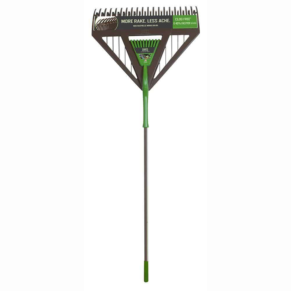 Rake with wooden handle