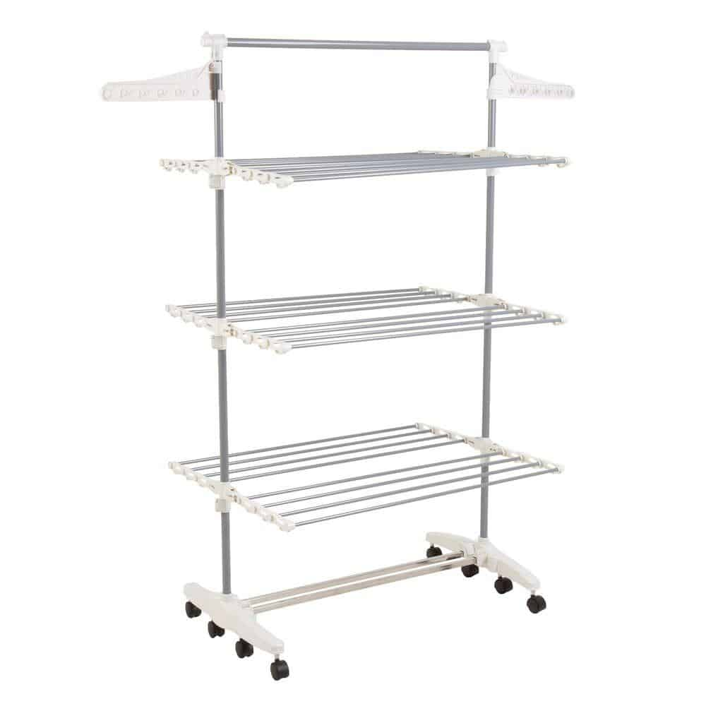 Rolling clothing drying rack