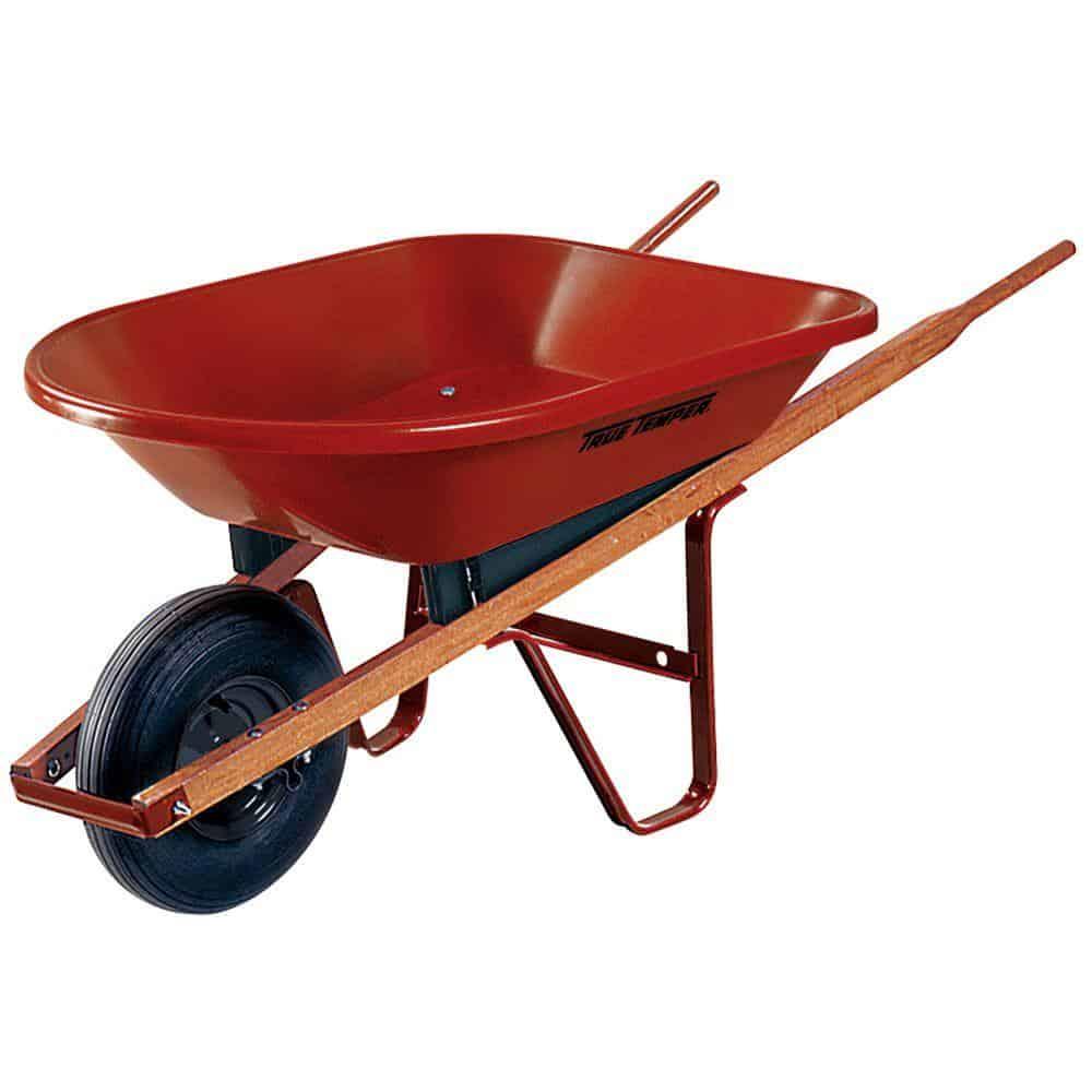 Wheelbarrow with wooden handle
