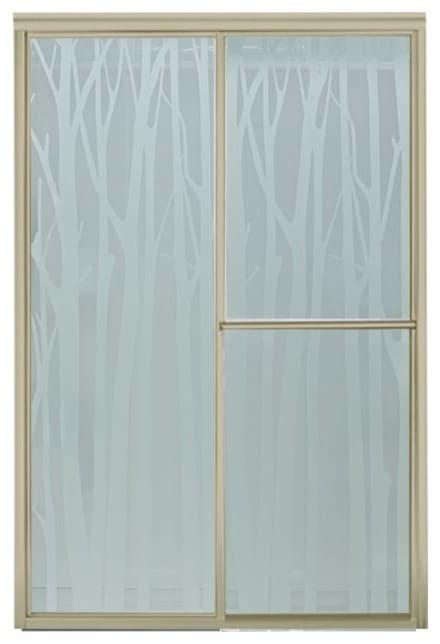 Patterned shower door