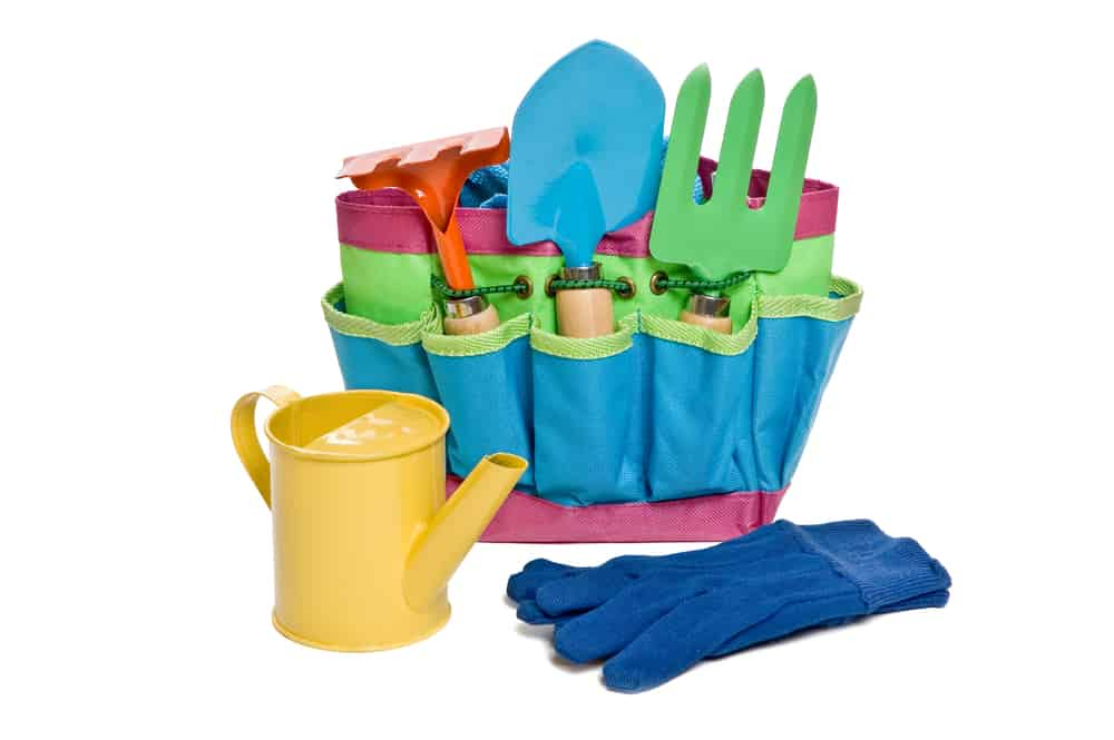 Child-sized real gardening tools for children.