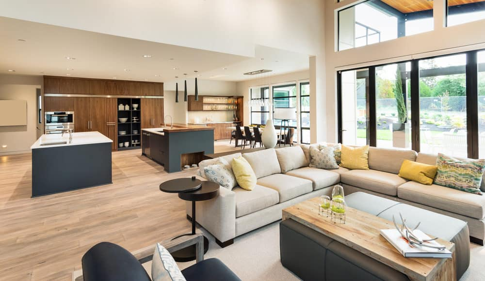 55 Open Concept Kitchen, Living Room and Dining Room Floor ...