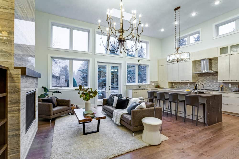 55 Open Concept Kitchen, Living Room and Dining Room Floor Plan Ideas