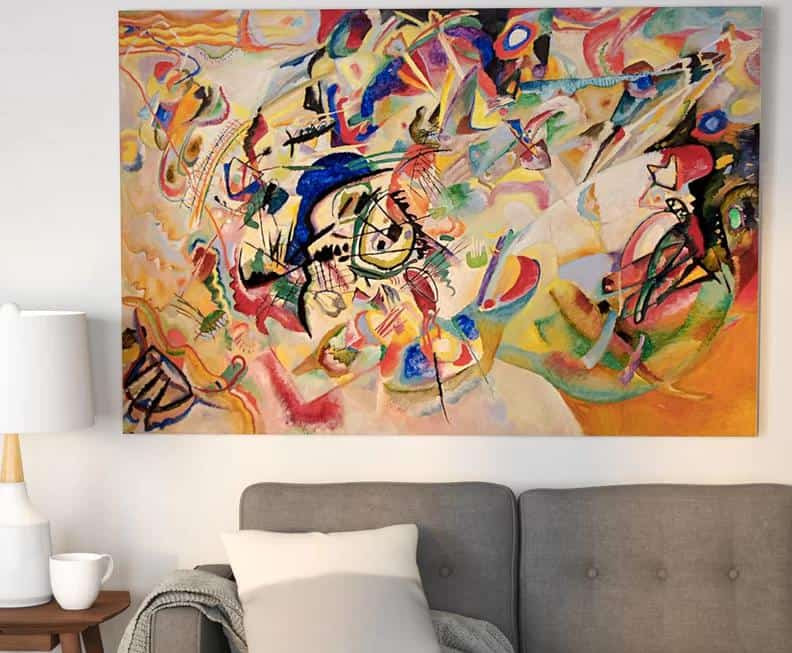Large, abstract wall art in the living room.