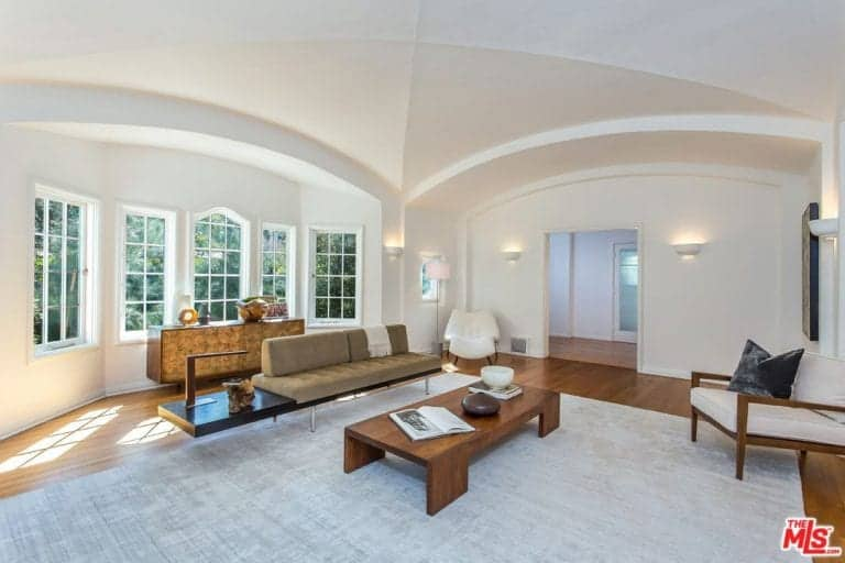 Another living space is surrounded by white walls and well-placed lighting along with a nice rug and a groin vault ceiling.