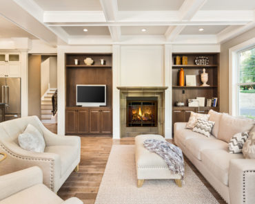 Living room with white coffered ceiling