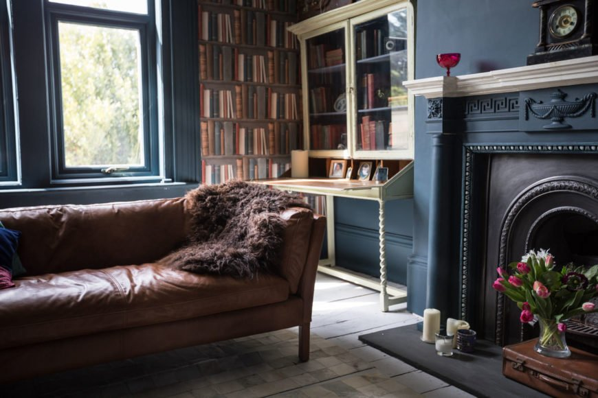 Vintage living room with brown leather couch