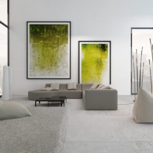 Living room with large wall art paintings