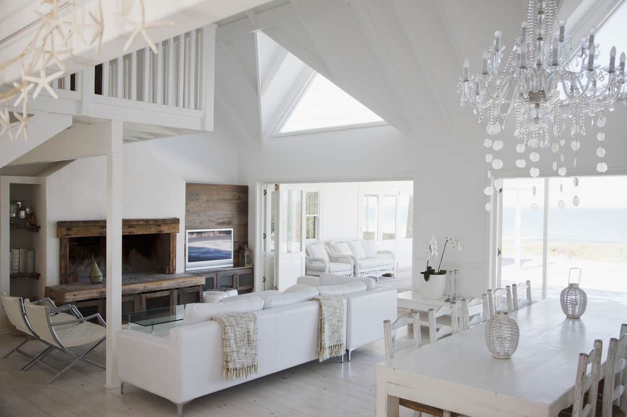 Living room with a long white couch