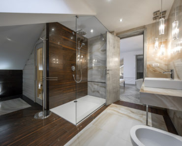 Luxury bathroom with beautiful walk-in-shower