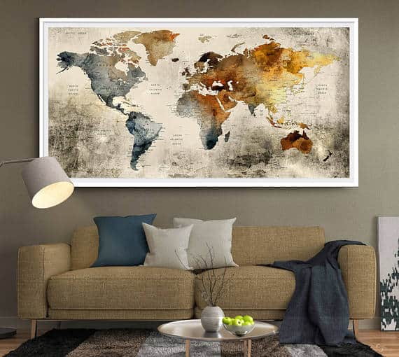 A world map wall art on the living room.