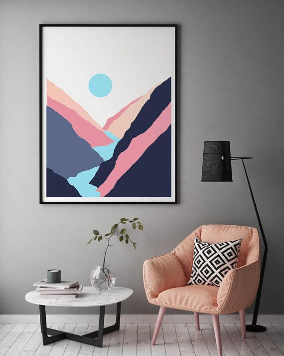 A colorful mid-century wall art of canyons.