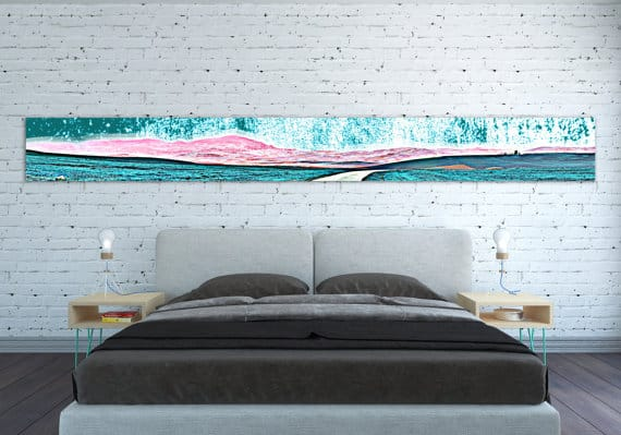Narrow wall art stretched horizontally.