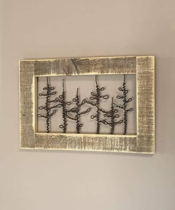 A rustic type of wooden wall decor.