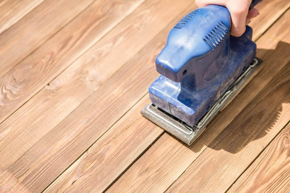 Sanding tool used for polishing hardwood flooring.