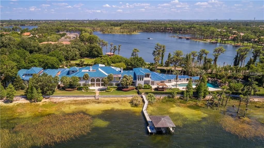 Shaq's Florida estate aerial view boasts the property's beautiful structure and landscaping.