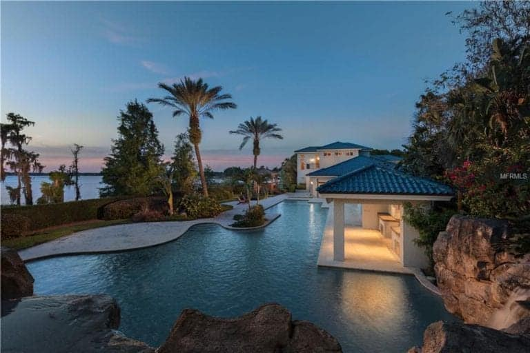 Shaquille O'Neal's large custom-made pool outside his huge property.