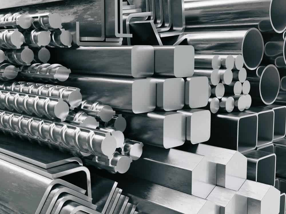 Different types and shapes of stainless steels.
