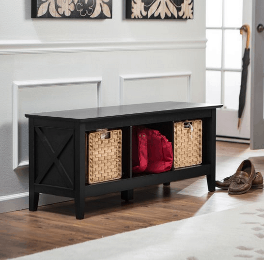 Storage bench for entryway storage