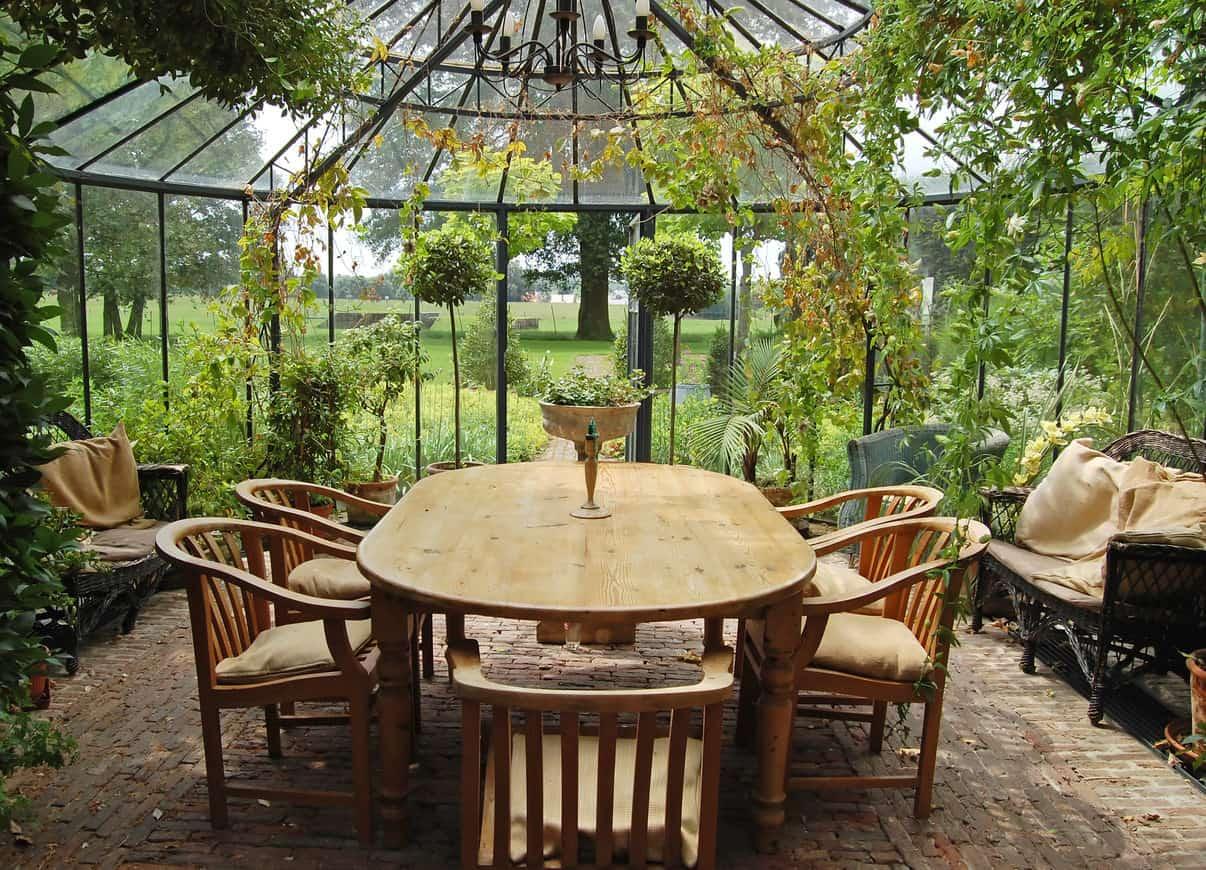 Sunroom veranda with dining table.