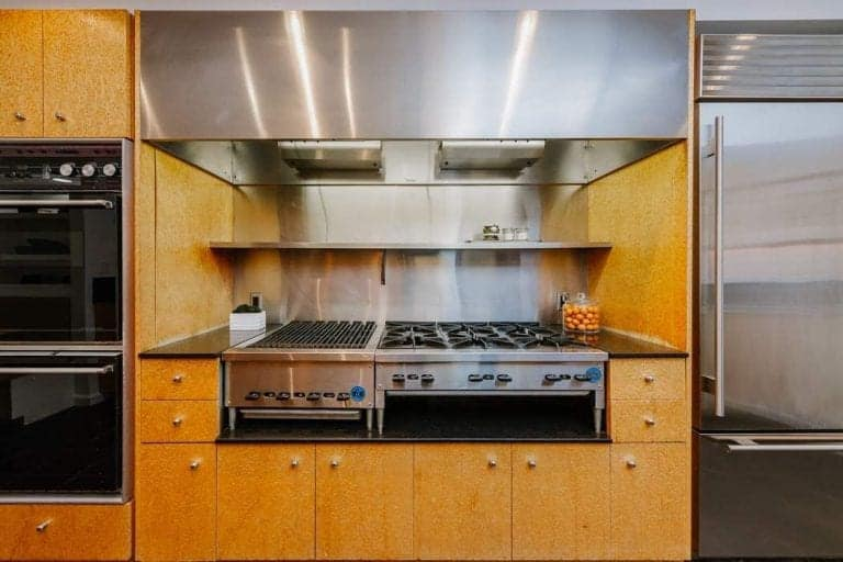 Close up view of the stainless steel appliances in Taylor Swift's kitchen.
