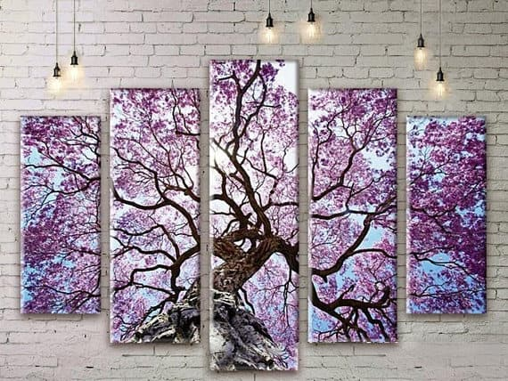 A 5 pc. set of tree wall art.