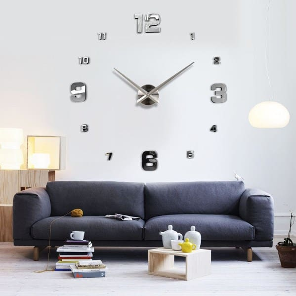Wall clock wall design.