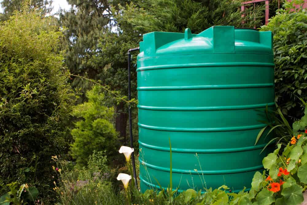 Rain barrel placed in the backyard.