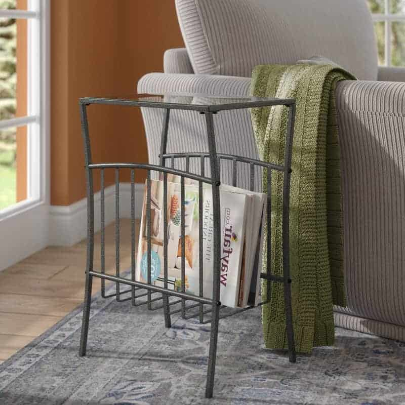 End table for magazine storage