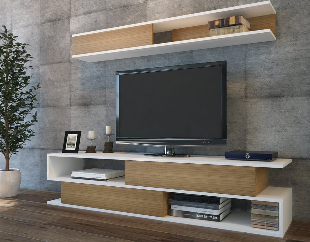 way minimalist floating TV shelf