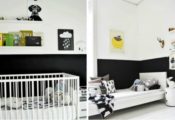 White and black half painted wall for your room.