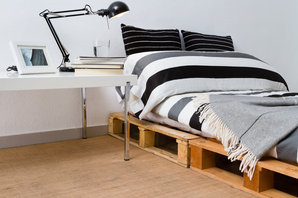 DIY, wooden platform bed made out of recycled woods.
