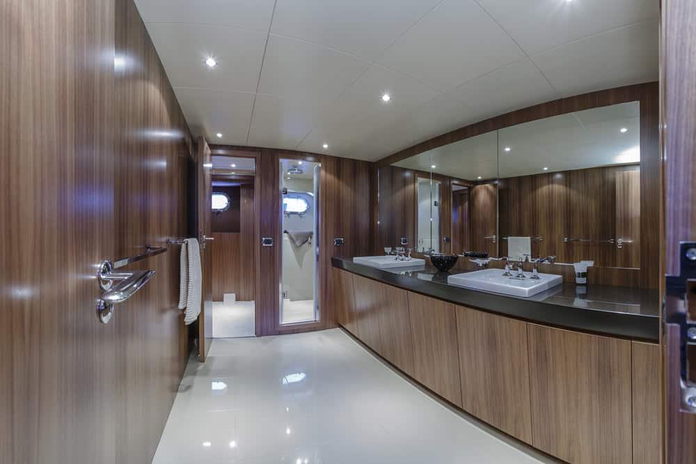 82 foot yacht primary bathroom
