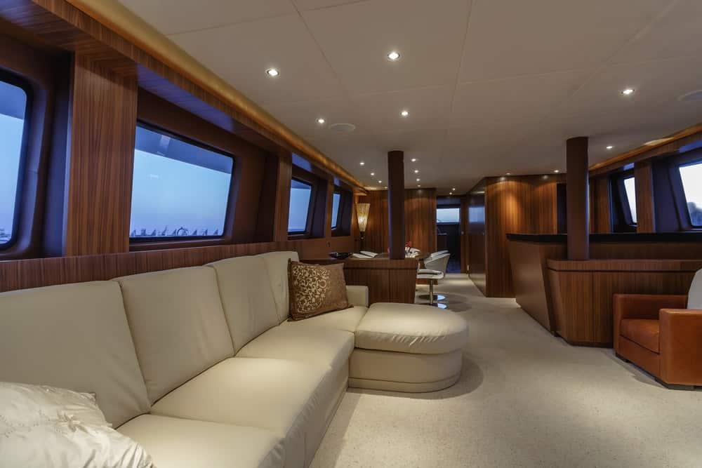 82 foot yacht salon area