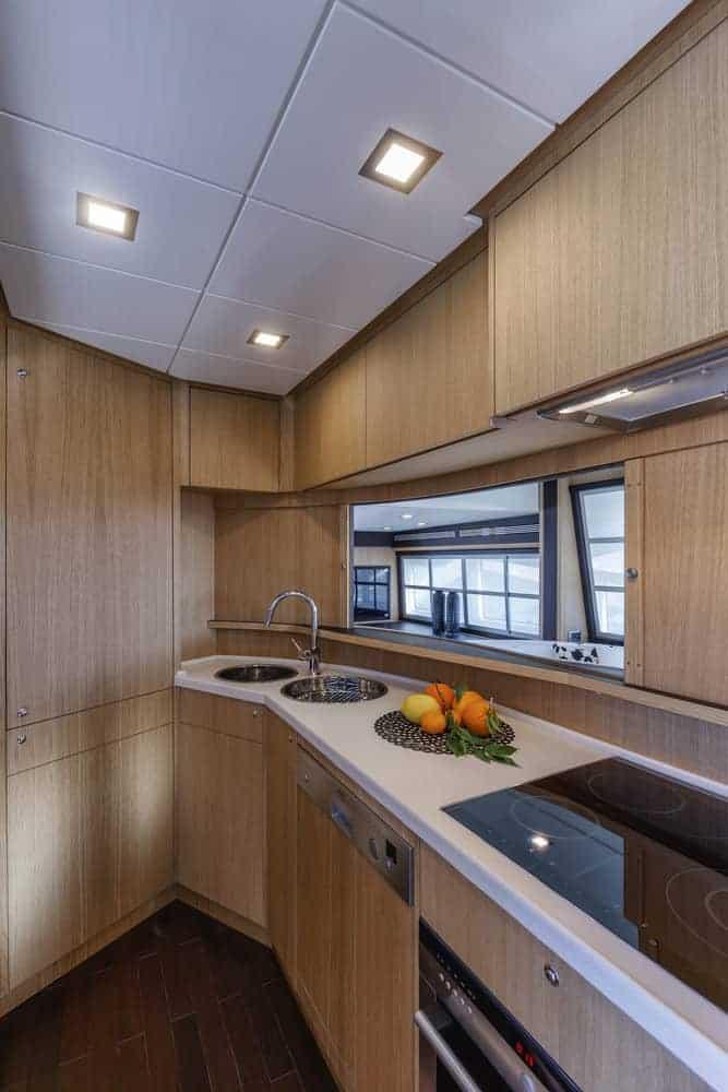 Abacus 70 luxury yacht kitchen area