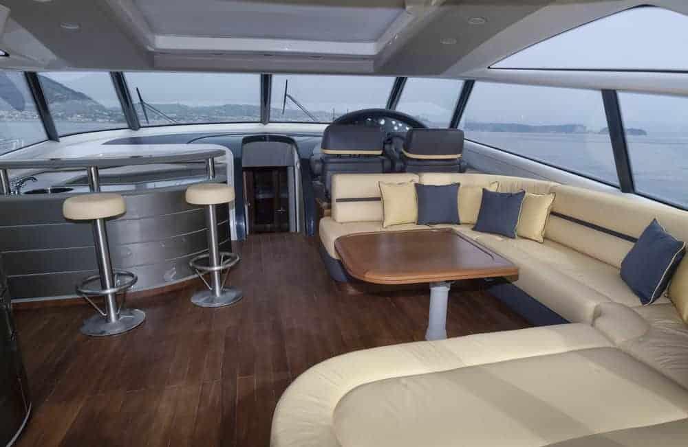 Atlantica luxury yacht upper lounge area
