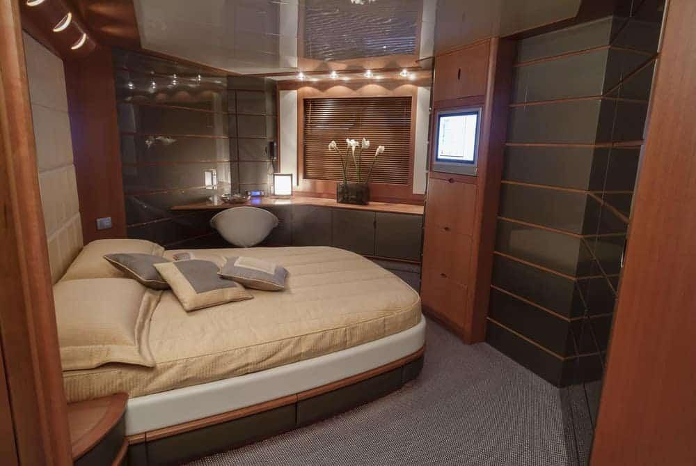 Atlantica luxury yacht primary bedroom