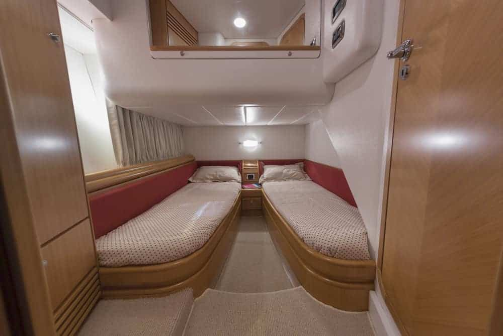 Guest bedroom two beds on yacht