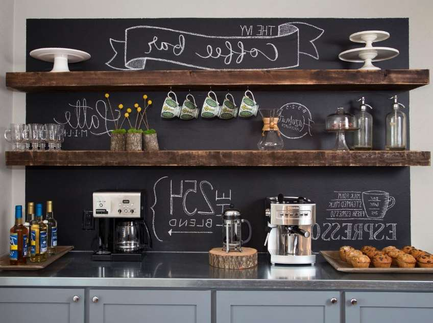 A customized coffee bar.
