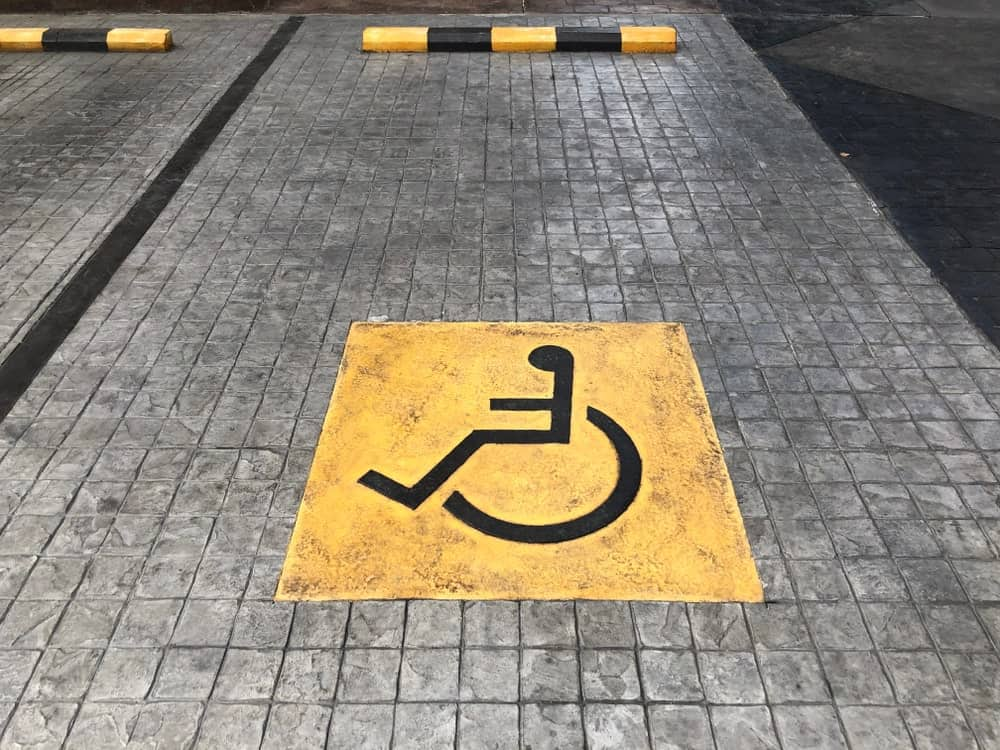 This is a close look at a parking spot for people with disablity.