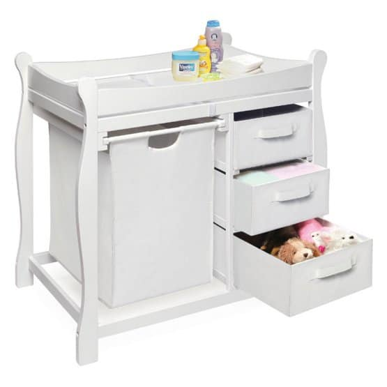 Baby changing table with hamper.