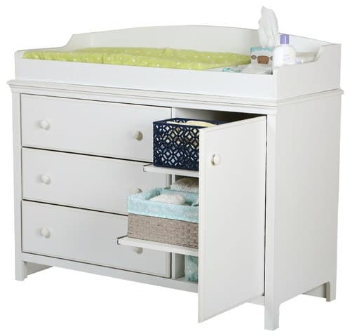 Baby changing table with removable tray.