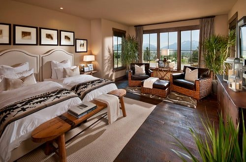 Beige Southwestern bedroom.