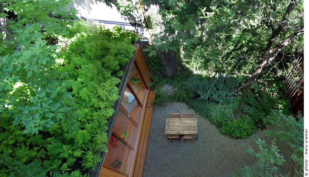 Aerial view of the house focusing on the backyard. Photo credit: Marc Cramer