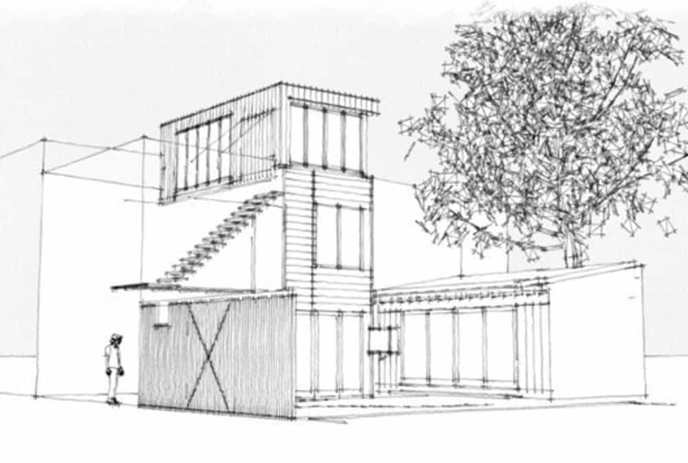 Outdoor architecture plan of the house. Photo credit: Paul Bernier