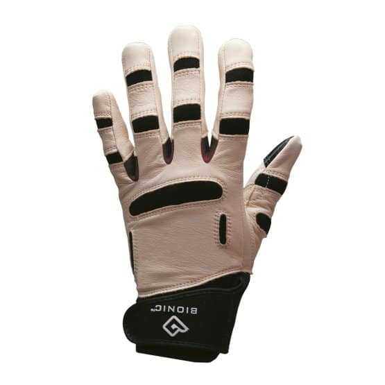 Bionic, leather garden gloves in black and cream tones.