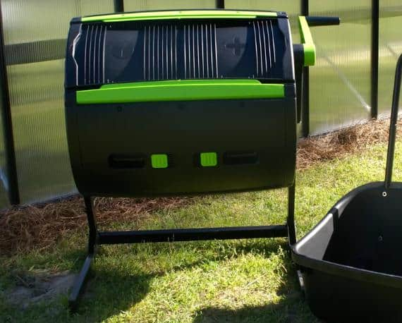Black, medium-sized composter with green accents.
