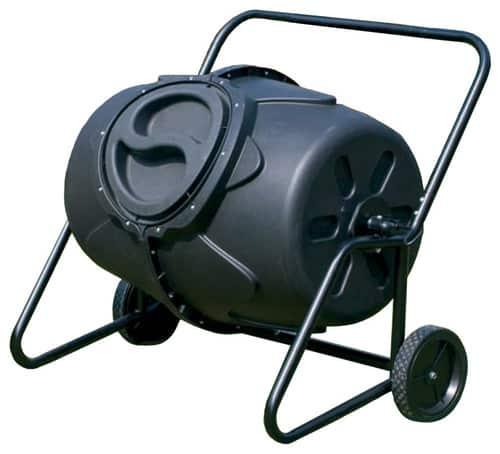 Black composter with wheels for easier movement.